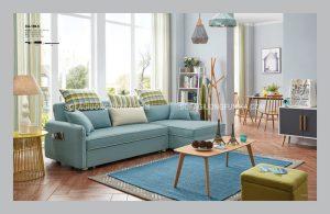 Sofa giường thông minh màu xanh nhạt nhẹ nhàng