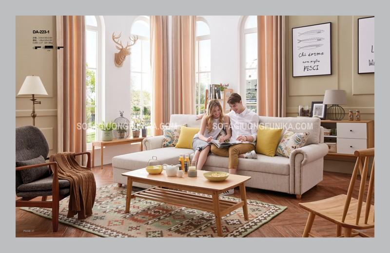 Sofa giường thông minh màu trắng kem cũng rất thích hợp vào mùa hè này