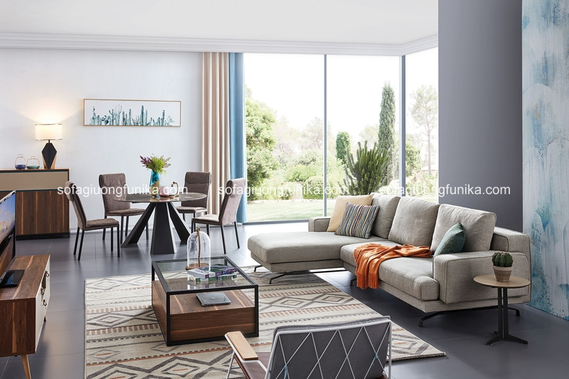 Hình ảnh của một phòng khách xinh đẹp hướng tới thiên nhiên tươi mát