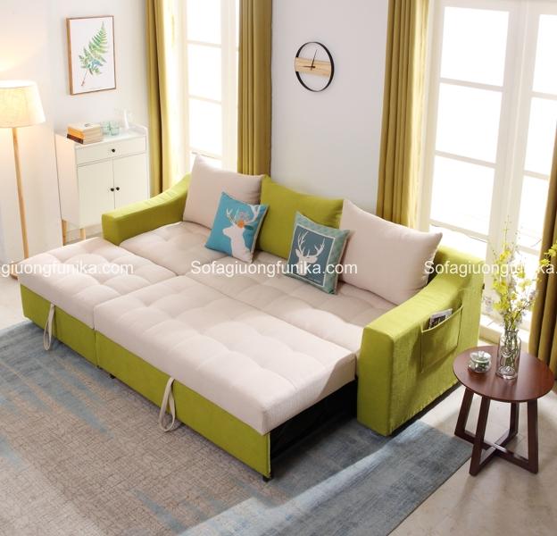 Chỉ cần thao tác đơn giản, chiếc ghế sofa đã biến thành chiếc giường êm ái