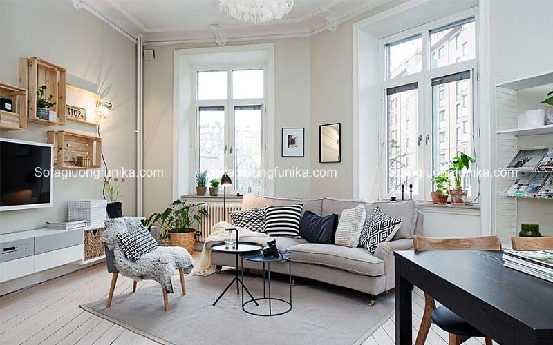 Ghế sofa phòng khách Scandinavian đầy tự do