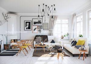 Những bức tường trắng tôn lên hết những vẻ đẹp vốn có của ghế sofa
