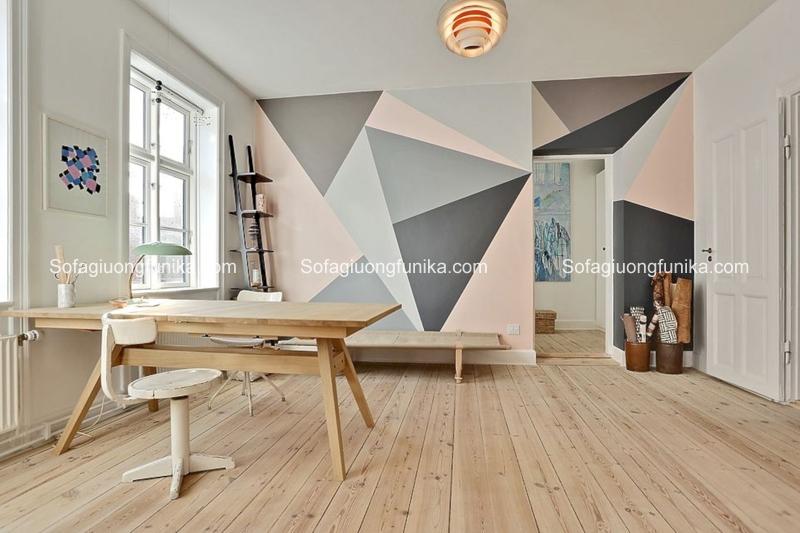 Phòng khách cuốn hút và có chiều sâu hơn vói họa tiết hình học