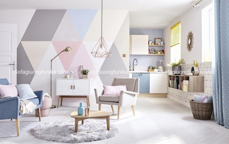 Sử dụng họa tiết hình học là một cách sáng tạo trong trang trí phòng khách